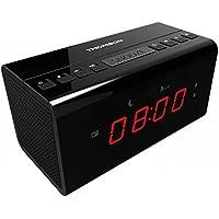 Thomson CR50 Horloge Noir Radio Portable - Radios Portables (Horloge, FM, Noir, AAA, Secteur, Batterie/Pile, 130 mm)