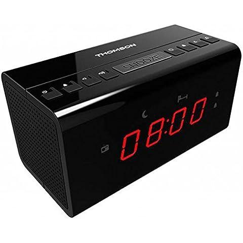 Thomson CR50 - Radio Despertador de Tamaño Pequeño (Funcion: Siesta, Temporizador y Doble Alarma)