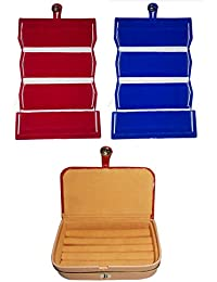 Afrose Combo 1 Pc Red Earring Folder 1 Pc Blue Ear Ring Folder 1 Pc Ring Jewelry Vanity Box