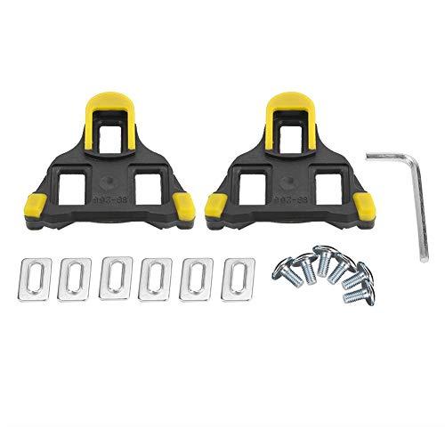 Alomejor 1 Paio Copertura da Pedale Bici Tacchette Auto-bloccaggio per MTB Bici da Strada, Speciale per Scarpe da Ciclismo(Giallo)