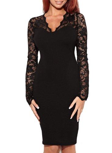 Miusol Abendkleid Spitzen V-Ausschnitt Cocktail Ballkleid Langarm Kleid schwarz/weiß