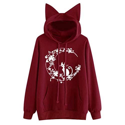 Wawe 166, Pullover Hemd Caot, Hoodie Damen Übergrößen Langarm Cat Graphic Damen Sweatshirt Langarm Hoodies Tops für Mädchen und Teenager Herbst Winter lässig locker locker leicht zu tragen -