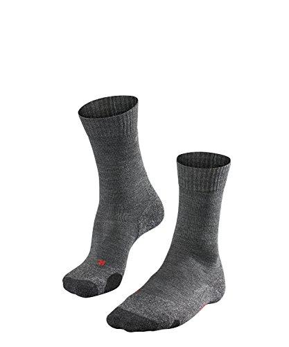 FALKE TK2 Damen Trekkingsocken / Wandersocken - grau, Gr. 39-40, 1 Paar, extra starke Polsterung, Merinowolle, feuchtigkeitsregulierend