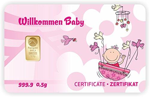 Goldbarren Geschenkkarte 0,5 g 0,5g Gramm Feingold 999.9 Nadir Gold Geburt Baby - 2