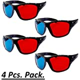 Jambar Red-Blue/Cyan Anaglyph Simple Style 3D Glasses 3D Movie Game-Extra Upgrade Style (4Pcs Pack)
