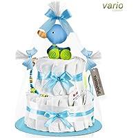 Timfanie® Windeltorte | Ziehente (2-stöckig/baby-blau) vario