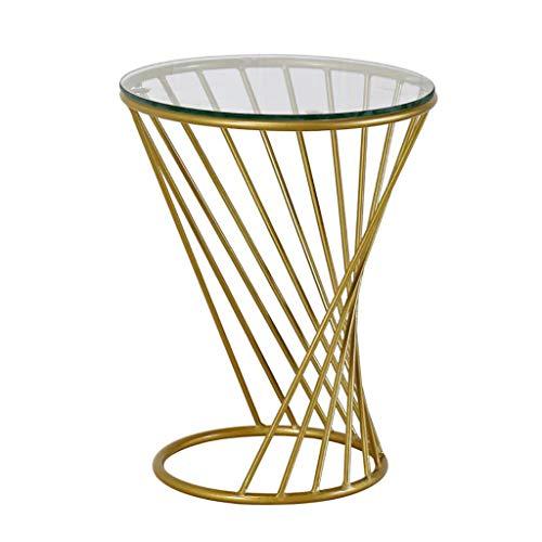 HQCC Couchtisch Eisen Glas Goldenen Runden Tisch Einfache Moderne Kreative Beistelltisch Wohnzimmer Sofa Ecktisch Balkon Freizeit Tisch Nachttisch (Farbe : A, größe : 38x48cm) - Glas-modernen-sofa-tisch