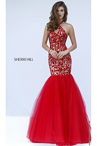 sherri-hill-50015-red-nude-patterned-fishtail-dress-uk-12-us-8