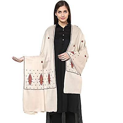 Pashtush Women's Wool Shawl with Kashmiri Sozni Embroidery, Kashmiri Shawl Needlework Embroidery