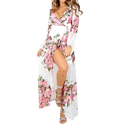 kleid damen Kolylong® Frauen Sommer Boho Blumen Gedrucktes Chiffon Lang Maxi Party Kleid Elegante Strandkleid Sundress Böhmisches kleid (M, Weiß) -