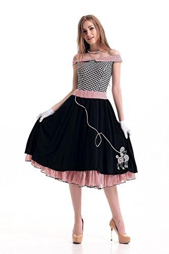 tüm,Europäische und Amerikanische Lange Röcke Mädchen Cosplay Wort Schulter Broadway Kostüm, 6420, U ()