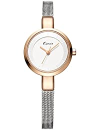 Alienwork Reloj cuarzo pulsera cadena envolver cuarzo elegante moda Metal plata plata YH.KW6115S-04