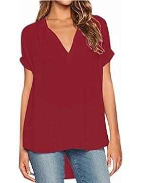 Fuxiang Blusas Mujer Gasa Camisetas Camisas Manga Corta Blusa Camisa Cuello V Shirt Casual Camiseta Top Señoras...
