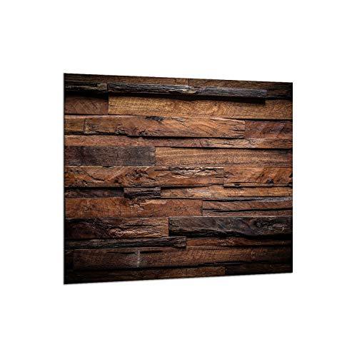 decorwelt | Küchenrückwand Spritzschutz aus Glas 65x60 cm Wandschutz Herd Spüle Küchenspritzschutz Fliesenschutz Fliesenspiegel Küche Dekoglas Holz Braun