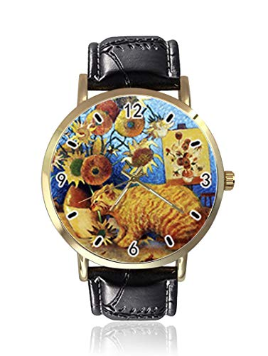 Bad Cat by Greatest Artist Van Gogh Damen Herren Uhren Fashion Unisex Leder Casual Quarz Armbanduhr