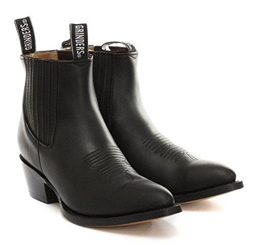 Grinders Unisexe Maverick Noir VŽritable cheville en cuir Western Cowboy Boots