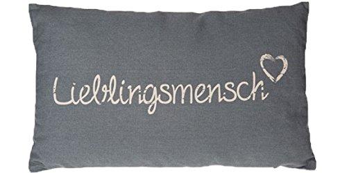 Bada Bing 2er Set Kissen Lieblingsmensch grau creme Sofakissen Kuschelkissen -
