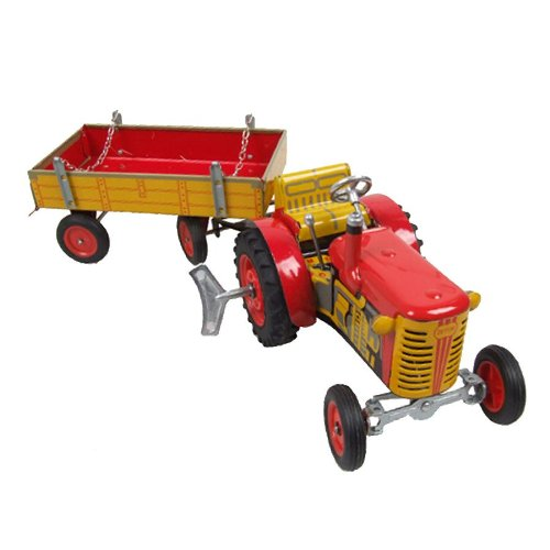 tracteur-remorque-rouge-jouet-mecanique-avec-moteur-miniature-modele-original