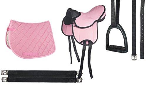 HKM 9346 Shettysattel-Set Beginner, Sattel inkl Schabracke Steigbügel Sattelgurt, pink