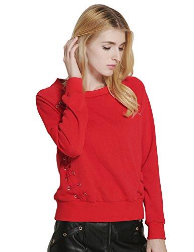 Relaxfeel Vrac Corde porter autour du cou à manches longues Pull Rouge