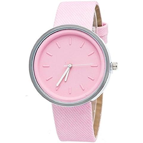 Sannysis Acentuado de cuarzo reloj de pulsera de mujer (Rosa)