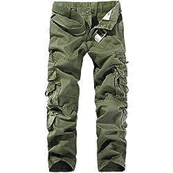 AYG Pantalon Cargo Hombre Mens Cargo Pants(Army Green,32)