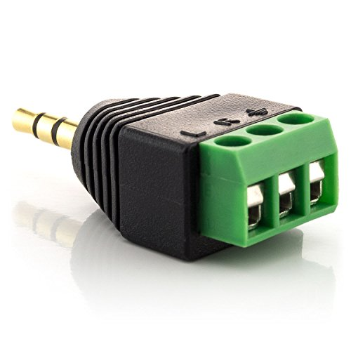 zanasta Adapter Klinkenstecker 3,5mm Klinke Stecker 3 polig Terminalblock Schwarz-Grün
