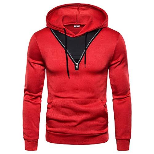 Heetey Hemd Top Herren Freizeitmode Patchwork V-Ausschnitt Reißverschluss Hoodie Langarm Sweatershirt Pullover legere Passform. Angenehmes Tragegefühl, vielseitig kombinierbar 100% Baumwolle -