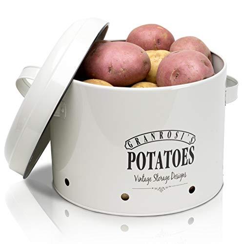 """Los productos GranRosi son siempre un atractivo para su cocina. La gran caja esmaltada para patatas de GranRosi con el texto """"POTATOES"""" y un diseño vintage de los años 40 no solo es muy estable y lo suficientemente grande como para almacenar 4kg de ..."""