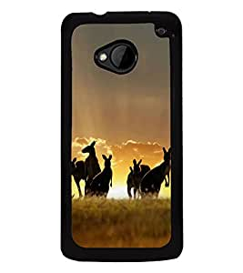 Fuson Designer Back Case Cover for HTC M7 :: HTC One M7 (Kangaroo jungle animals paddy field clouds)