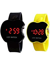 Madhav Fashion Apple Led Black And Yellow Watch For Child And Boys (Combo)