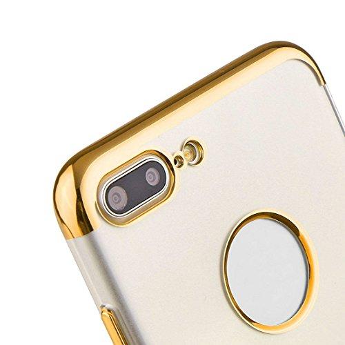 Hülle für iPhone 7 plus , Schutzhülle Für iPhone 7 Plus galvanisierender Rahmen weicher TPU schützender Fall rückseitige Abdeckung + 0.2mm 9H Härte 3D explosionsgeschützter Aluminiumlegierungs-Rahmen  Gold