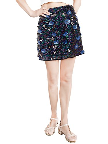 Anna-Kaci Damen Blingbling Blumen Pailletten Elastisch Hauteng Body Con Stretch Mini Bleistift Rock Vishines Skirt (Con Kleid Pailletten-body)