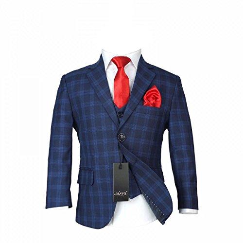 Jungen Kariert Marine Anzuge & Rot Krawatte Kinder Kariert Blau Marine Anzug (3 Stück-zwei-knopf-anzug)