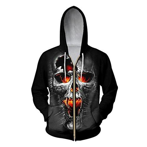 3D-Zipper Hoodies Männer Gebrochen Totenkopf Bedruckt Sweatshirt Hoody Männlichen Hooded Zip Outerwear Schwitzt Oversize Lange Kordelzug Jacke Schwarz XL (Kordelzug Schwitzt)