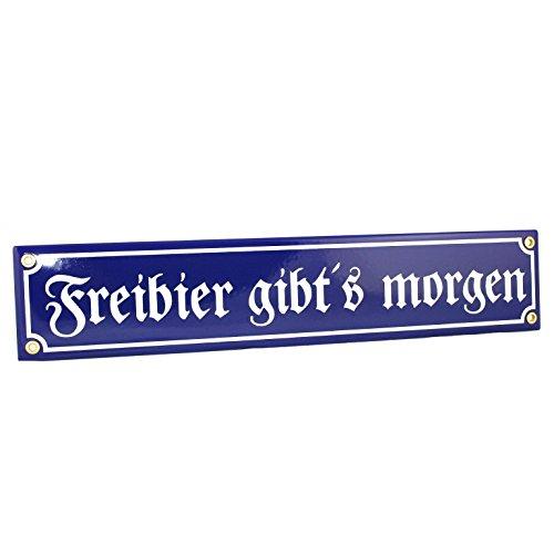 """Bavariashop Emaille-Schild """"Freibier gibt´s morgen"""", klassische Straßenschildoptik, Blau, Dekoschild für Wohnzimmer, Haus, Hütte, Garten"""