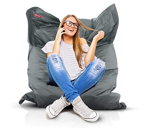 Roomox Original Sitzsack-120x160cm-für drinnen & draußen XXL Sitzsack, Stoff, Grau, 160x120x30 cm