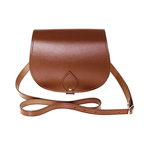 Zatchels - Borsa Saddle in Pelle Fatta a Mano - Classico - Donna Marrone
