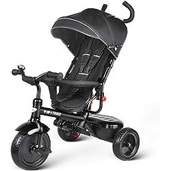 besrey 4 en 1 Tricycle Poussette Vélo Bébé Evolutif Walker pour Enfant Garçon de 1 à 6 Ans (Noir)