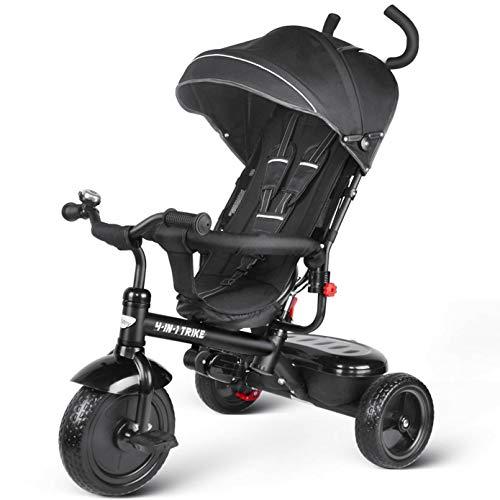 besrey 4 in 1 Triciclo Passeggino per Bambini Triciclo con maniglione Triciclo a Spinta con Tetto apribile 12 Mesi a 5 Anni Nero ...