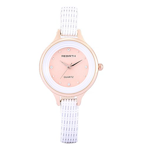 1228e1be8f52 esfera de color rosa de las mujeres del reloj de cuero blanco único reloj  delgada rara