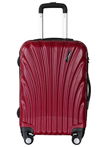 Americano Challenger Hard Sided Polypropylene Cabin Luggage Ruby Maroon 20 Inch Trolley