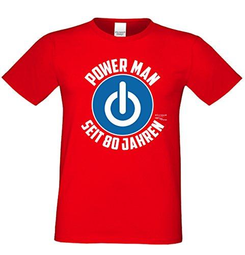 Geschenk für Männer zum 80. Geburtstag :-: Herren T-Shirt als Geschenkidee für Ihn zum runden Geburtstag Papa Opa :-: Power Man seit 80 Jahren ;; Farbe: rot Rot