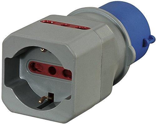 Electraline 80864 Adattatore Industriale da CEE a Schuko 2 Prese 10/16A Italiane, Blu
