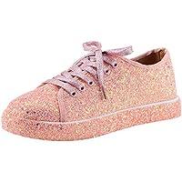 TUDUZ Zapatos De Moda Mujer Alpargata PlanaZapatos con Purpurina Bling Zapatillas con Cordones