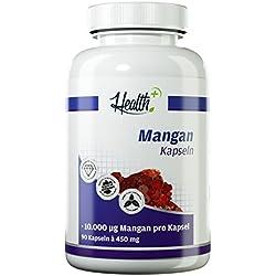 HEALTH+ Mangan Kapseln | wichtig für Kalziumaufnahme und Knochendichte | 10 mg pro Kapsel