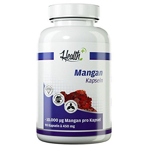 HEALTH+ Mangan - 90 Kapseln, 10 mg Mangangluconat pro Kapsel, wichtig für Kalziumaufnahme und Knochendichte, Nahrungsergänzungsmittel Made in Germany