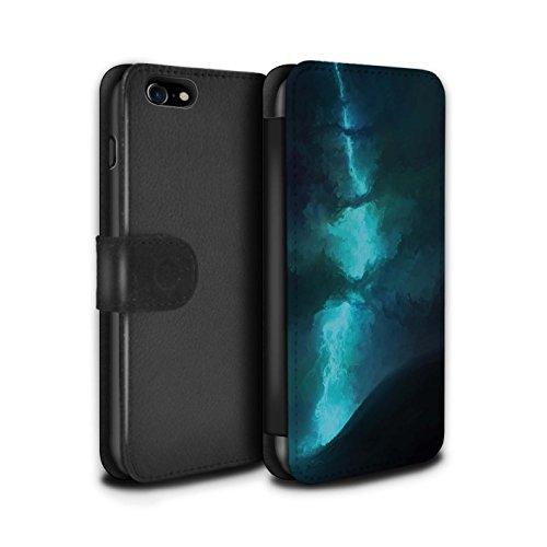 Offiziell Chris Cold PU-Leder Hülle/Case/Tasche/Cover für Apple iPhone 8 / Saphir Spitzen Muster / Fremden Welt Kosmos Kollektion Elektro-Sturm