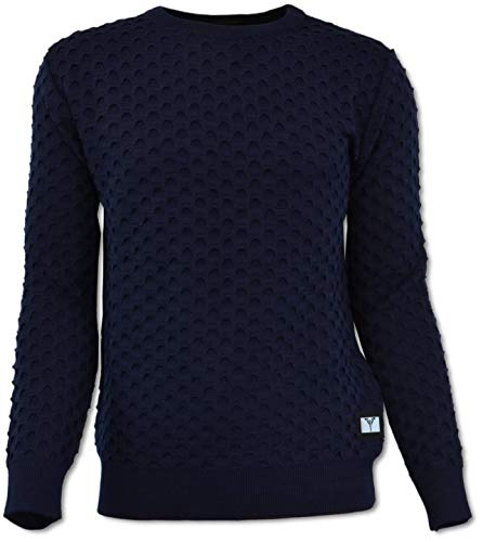 Carlo Colucci Rundhals Pullover mit All-Over Jaquard, Navy Navy XL
