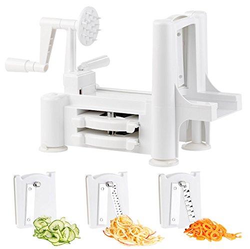 Rosenstein & Söhne Gemüsespiralschneider: 3in1-Gemüse- und Obst-Spiralschneider, 3 Edelstahl-Klingen-Einsätze (Spiralschneider Maschinen)